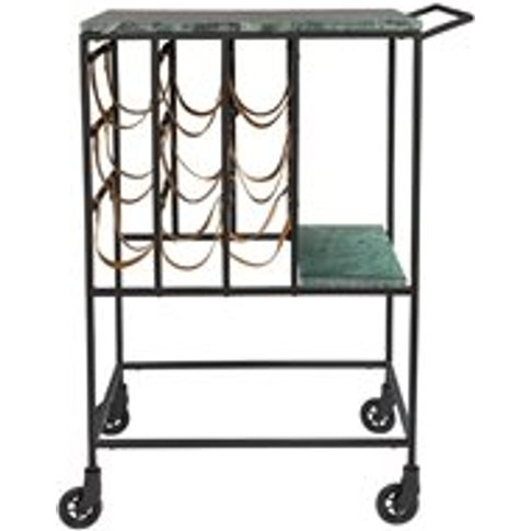 Dutchbone Mil Marble Top Drinks Trolley with Iron Frame