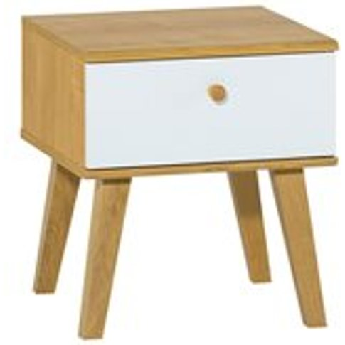 Vox Nature Bedside Table In White & Oak Effect