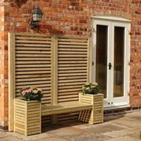 Rowlinson Wooden Garden Bench & Planter Set