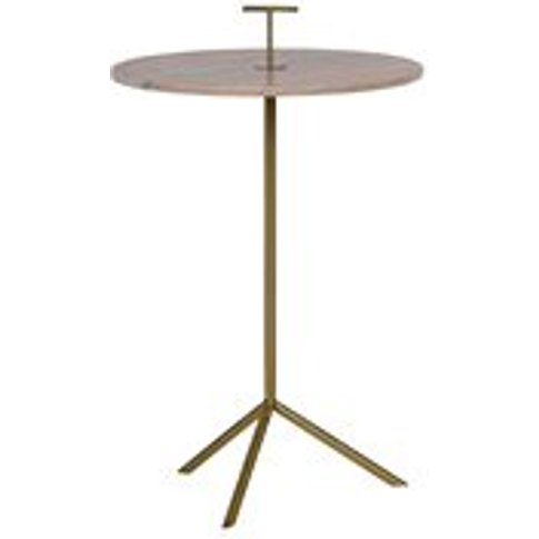Pink Marble Paddle Side Table in Gold by BePureHome