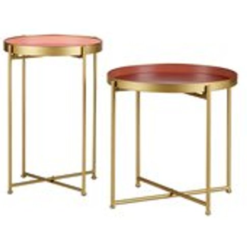 Julez Set of 2 Side Tables in Antique Brass by Woood