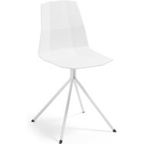 Pair of Pixel Plastic Dining Chairs in White
