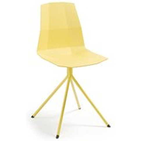 Pair of Pixel Plastic Dining Chairs in Yellow
