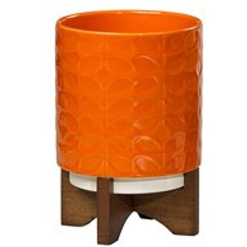 Orla Kiely Ceramic Plant Pot With Wooden Stand In 60...