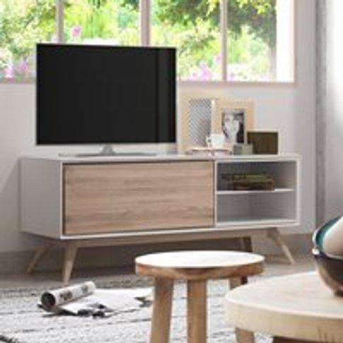 Quatre Wooden Tv Unit In White & Ash