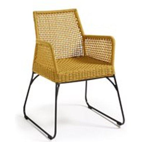 Pair Of Novak Woven Rope Armchairs In Mustard