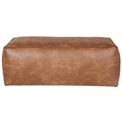 Rodeo Leather Pouffe In Tan By Bepurehome