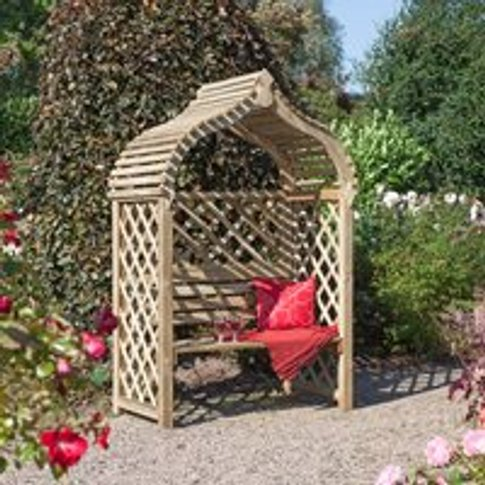 Rowlinson Jaipur Garden Arbour Bench in Natural Timber