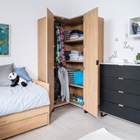 Vox Simple Corner Wardrobe - Oak Effect