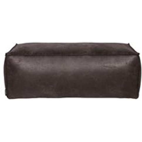 Rodeo Leather Pouffe in Black by BePureHome