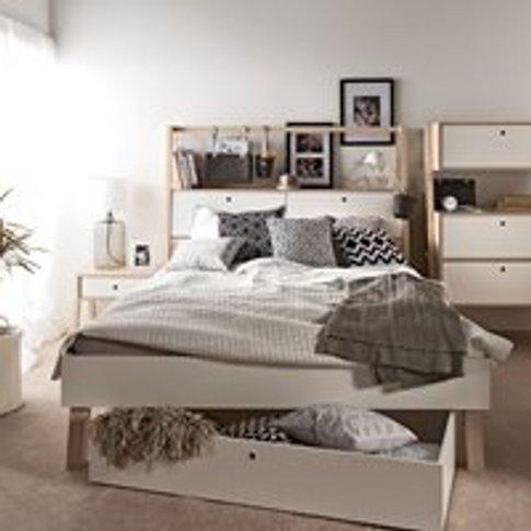 Vox Spot Bed With Cabinet Headboard In White & Acaci...