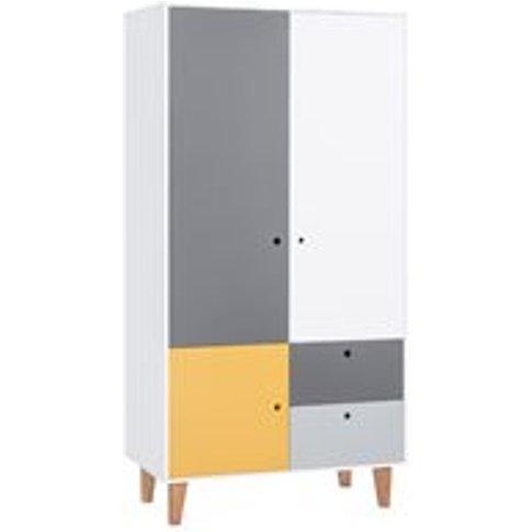 Vox Concept 2 Door Wardrobe In Grey & Yellow