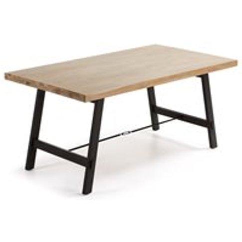 Vita Dining Table in Black & Acacia - 105cm x 210cm