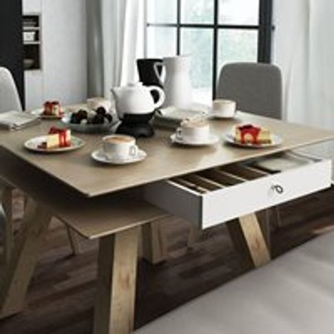 Vox 4 You Dining Table With Hidden Container In Oak ...