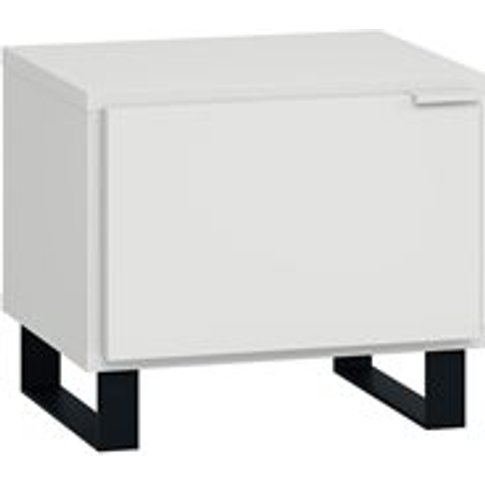 Vox Simple Bedside Table With Door - White