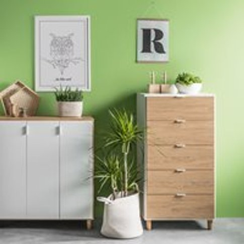 Vox Simple Narrow Chest Of Drawers - Oak Effect