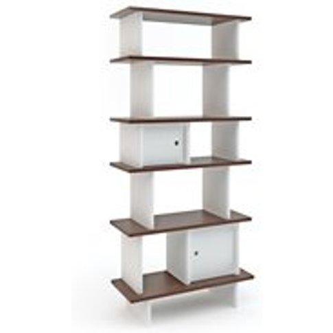 Oeuf Bookcase in White & Walnut - Mini