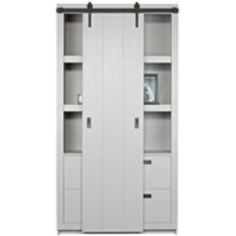 Barn Cabinet with Sliding Door in Concrete Grey by W...