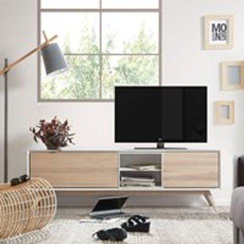 Quatre Wooden Tv Cabinet In White & Ash