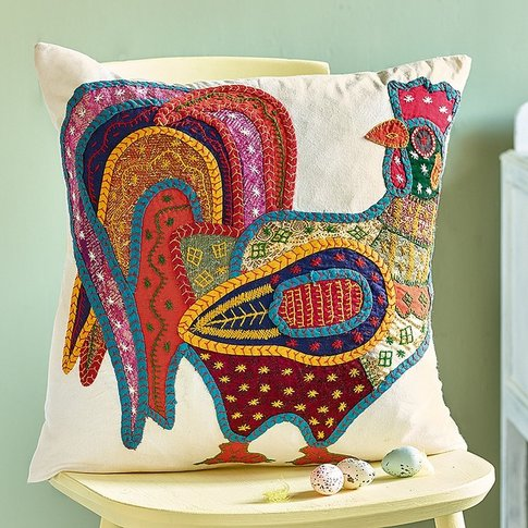 Applique Cockerel Cushion
