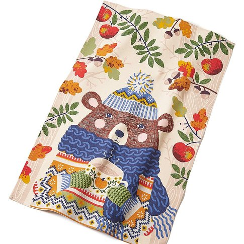 Fall Bear Tea Towel