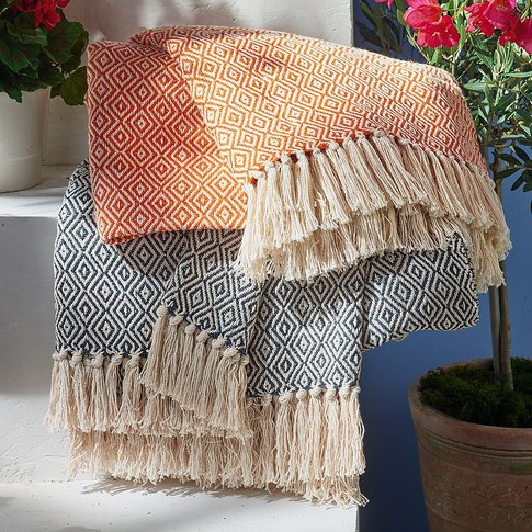 Foça Orange Cotton Throw