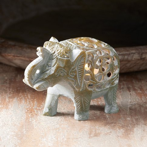 Soapstone Elephant Candle Holder