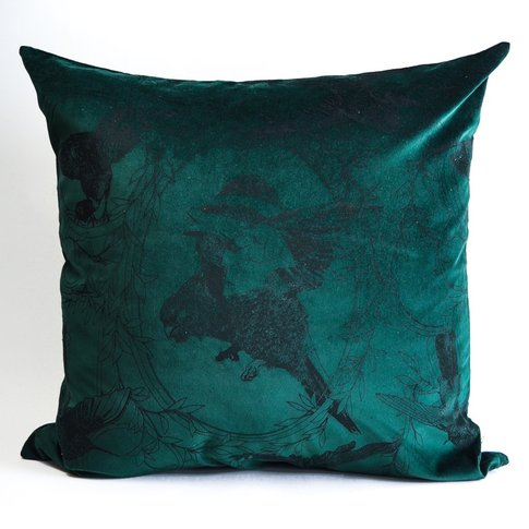 Taxidermy Birds Lux Velvet Cushion (Colour: Emerald)
