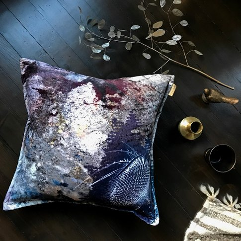 Bronze Flush Thistle Velvet Cushion