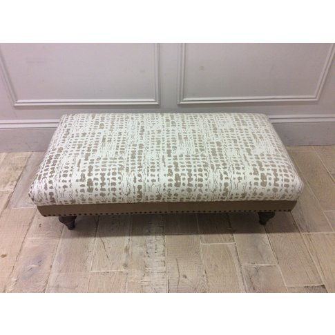 Dorset Footstool In Arbon Putty Fabric & Cotswold Le...
