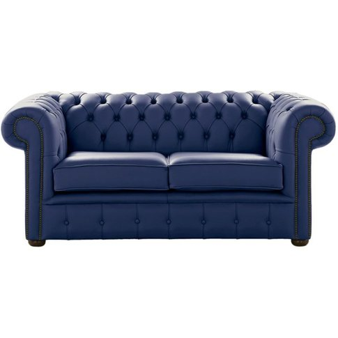 Chesterfield 2 Seater Shelly Bilberry Blue Leather S...