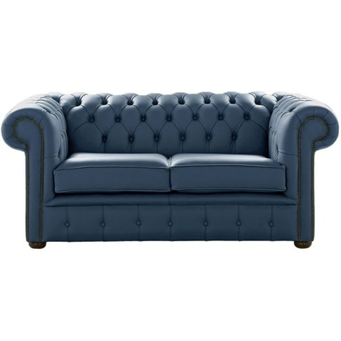 Chesterfield 2 Seater Shelly Majolica Blue Leather S...