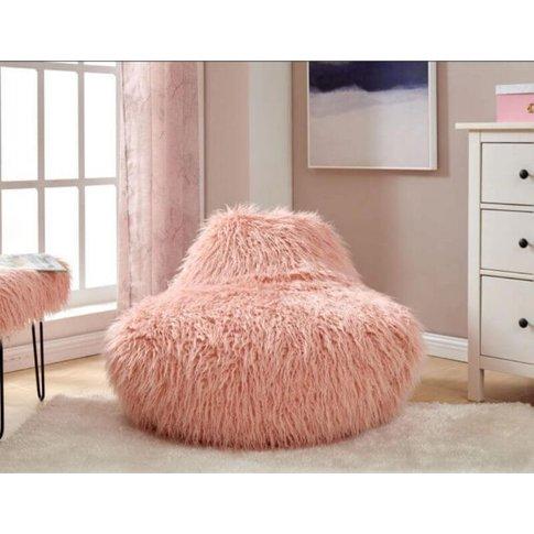Matteo Faux Sheepskin Bean Bag-Pink