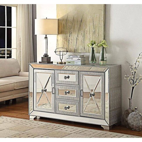Oliver Glass & Aluminium 3 Drawer Sideboard