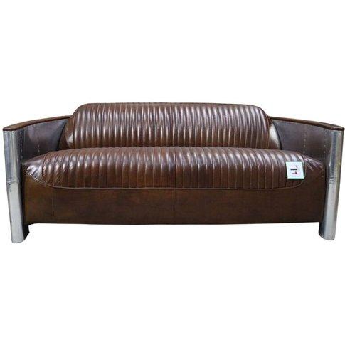 Aviator Pilot 3 Seater Sofa Vintage Brown Distressed...