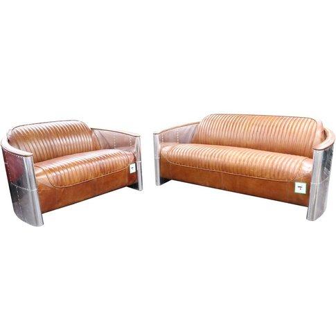 Aviator Pilot 3+2 Seater Vintage Tan Distressed Leather Sofa Suite