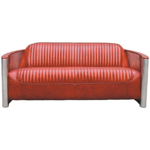 Aviator Pilot Vintage Distressed Leather Sofa