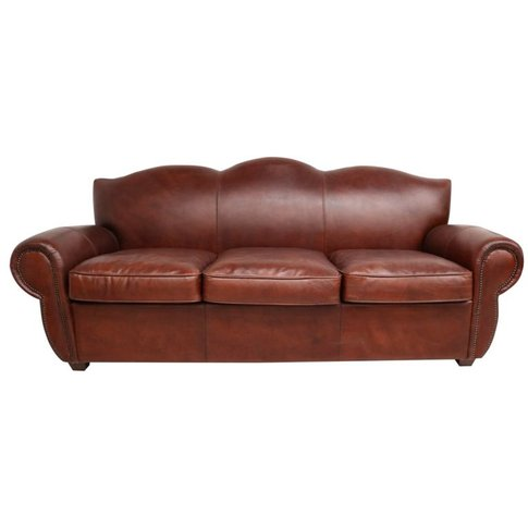 Burford Vintage Brown Distressed Leather 3 Seater Sofa