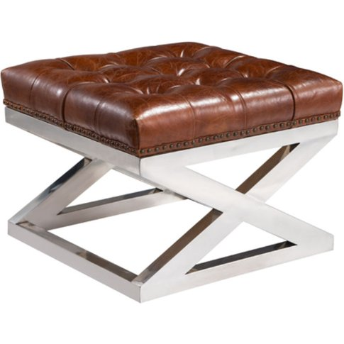 Buttoned Distressed Leather Metal Cross Footstool Ot...