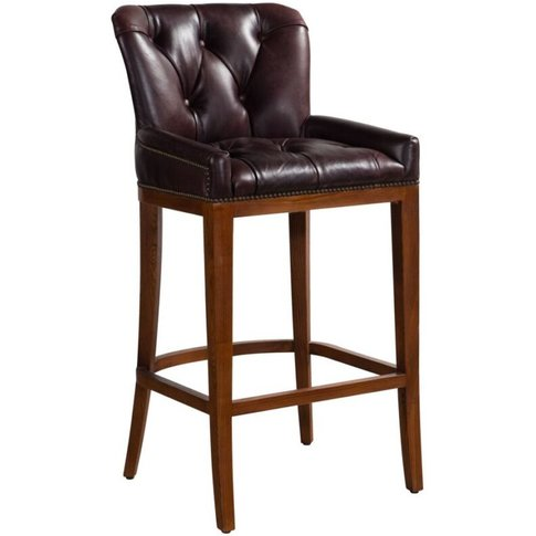 Buttoned Vintage Distressed Leather Bar Stool