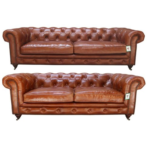 Vintage Distressed Tan Leather Chesterfield 3+2 Seat...