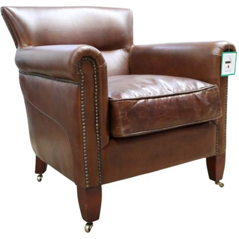 Classic Distressed Brown Leather Armchair