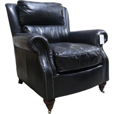 Florence Vintage Black Distressed Leather Armchair