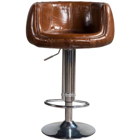 Vintage Tan Distressed Leather Grande Barstool | Des...