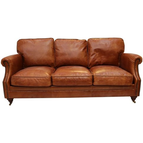Luxury Vintage Distressed Leather 3 Seater Settee So...