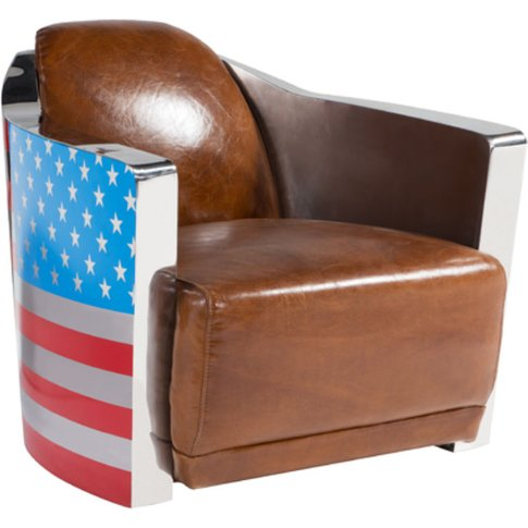 Stars And Stripes Aviator Retro Distressed Leather A...