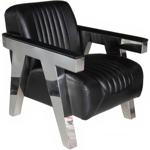 Steel Frame Vintage Leather Armchair