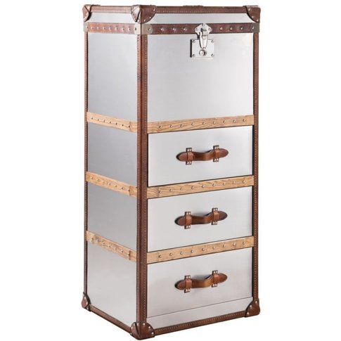 Vintage Aluminium Tall Chest Of Drawers
