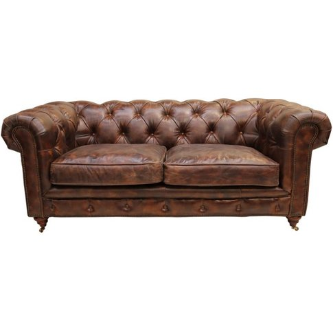 Vintage Distressed Tobacco Leather Chesterfield 2 Se...