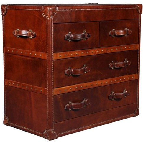 Vintage Leather Chest Of Drawers